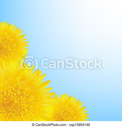 bloemen, grens, paardenbloem - csp13904149