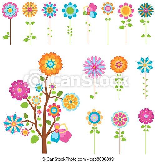bloemen, set, retro - csp8636833