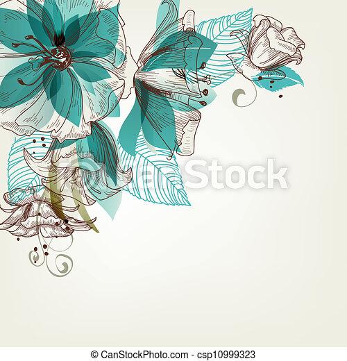 bloemen, vector, retro, illustratie - csp10999323