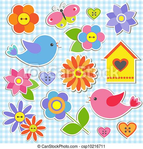 bloemen, vogels - csp10216711