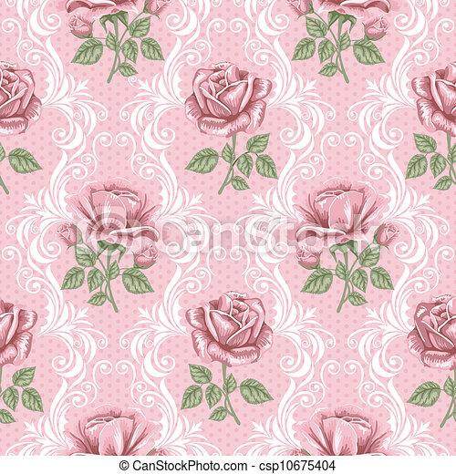 bloempatroon, -, seamless, rozen, retro - csp10675404