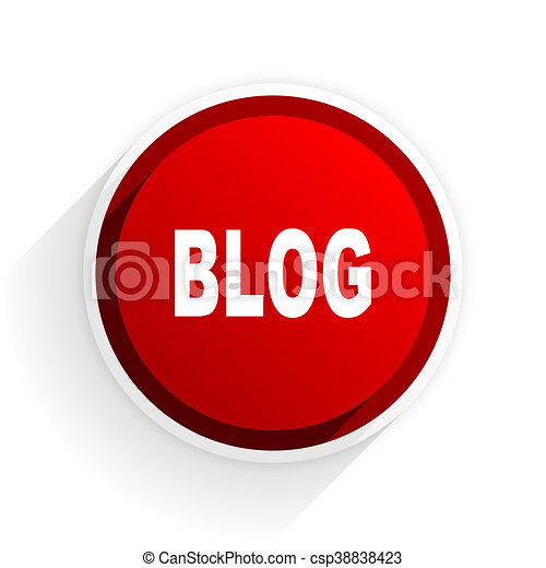 blog flat icon with shadow on white background, red modern design web element - csp38838423