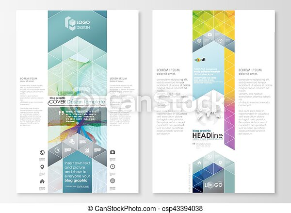 Blog graphic business templates. Page website template, easy editable, flat layout, vector illustration. Colorful design background with abstract shapes and waves, overlap effect. - csp43394038
