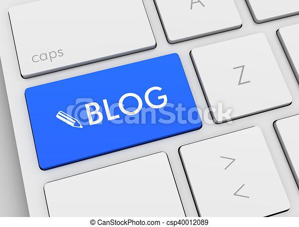 blog keyboard concept 3d illustration - csp40012089