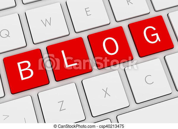 blog keyboard concept 3d illustration - csp40213475