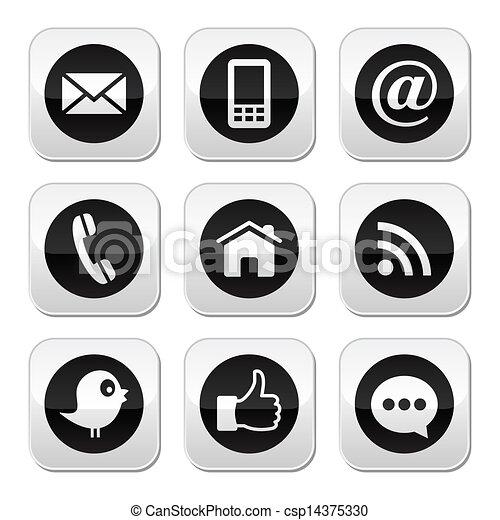 blog, média, érintkezés, háló, társadalmi - csp14375330