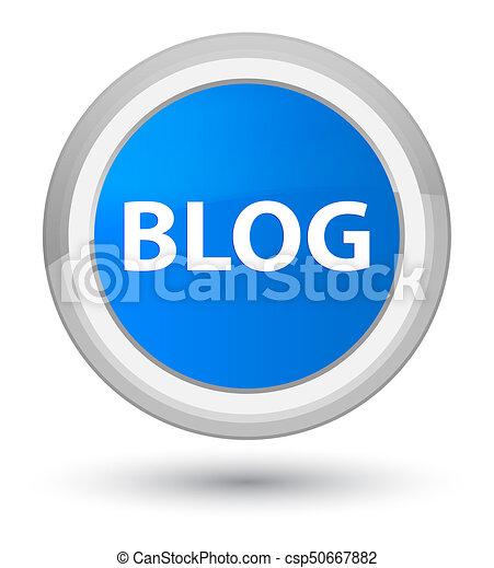 Blog prime cyan blue round button - csp50667882
