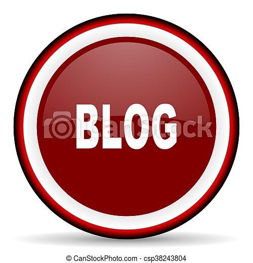 blog round glossy icon, modern design web element - csp38243804