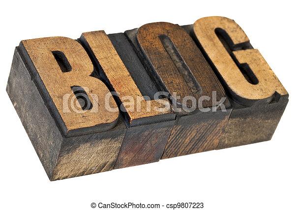 blog word in letterpress wood type - csp9807223