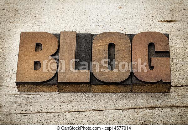 blog word in wood type - csp14577014