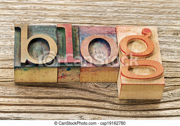 blog word in wood type - csp19162780