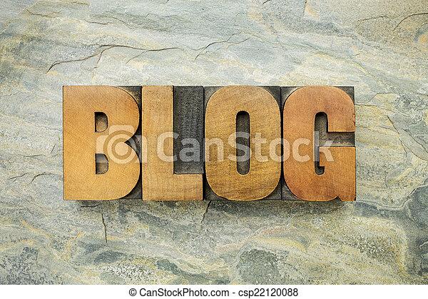 blog word in wood type - csp22120088