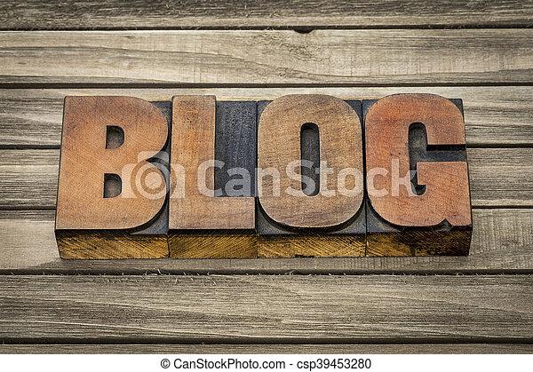 blog word in wood type - csp39453280