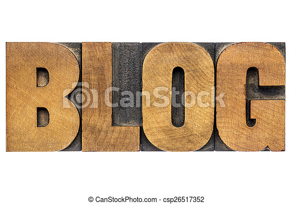 blog word in wood type - csp26517352