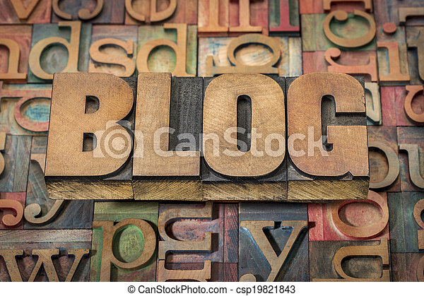 blog word in wood type - csp19821843