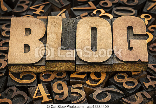 blog word in wood type - csp18834409
