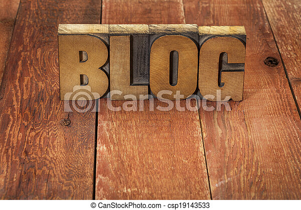 blog word in wood type - csp19143533