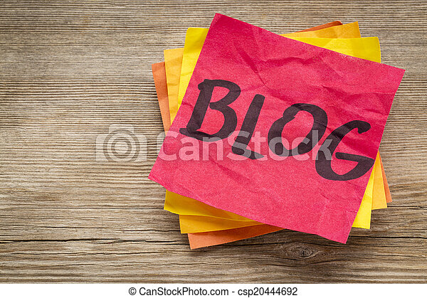 blog word on a sticky note - csp20444692