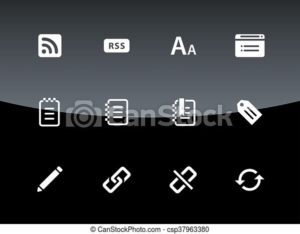 Icos Blogger en el fondo negro - csp37963380