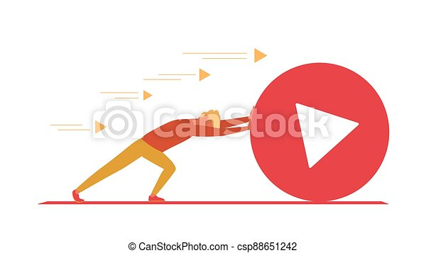 Blogger pushes big play button. Vlogger as sisyphus. - csp88651242