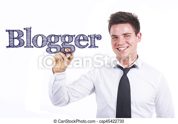 Blogger - Young smiling businessman writing on transparent surface - csp45422730