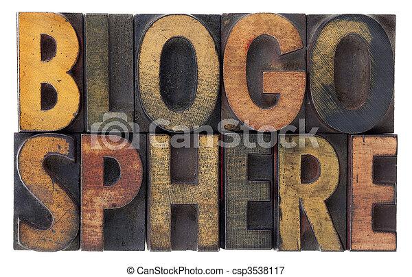 blogosphere - vintage wood letterpress types - csp3538117