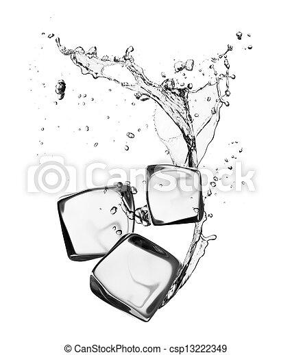 blokje, vrijstaand, ijsje water, gespetter, achtergrond, witte  - csp13222349