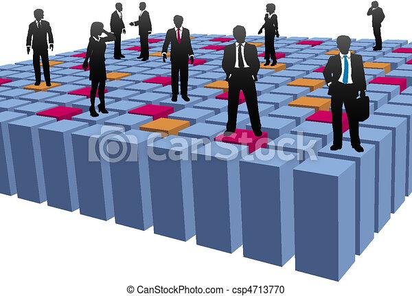 blokje, zakenlui, bedrijf, het werkteam, abstract - csp4713770