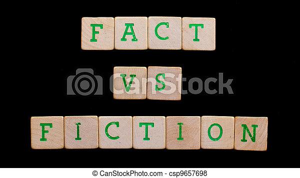 blokjes, houten, (fact, brieven, fiction), oud - csp9657698