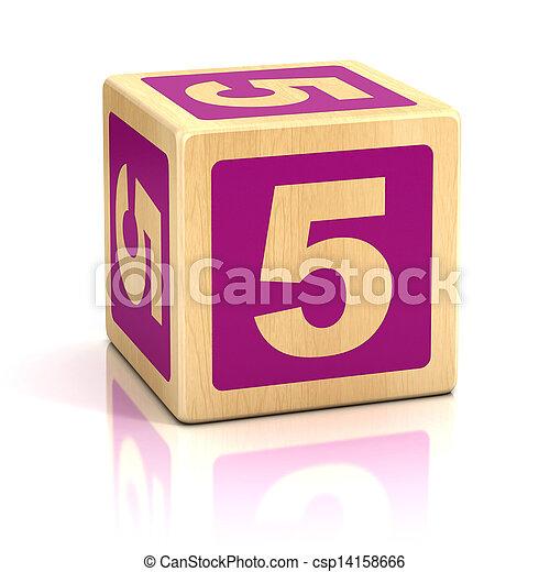 blokjes, houten, nummer 5, vijf, lettertype - csp14158666