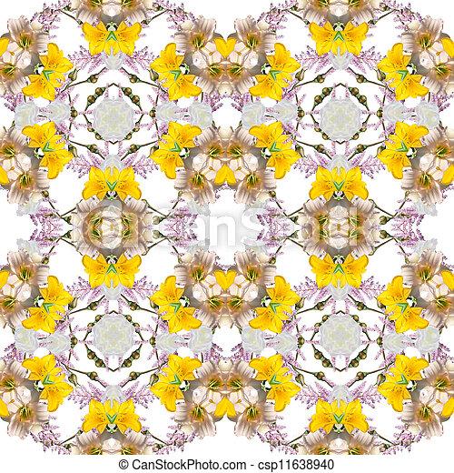 blom- mönstra, abstrakt, seamless, kalejdoskop - csp11638940