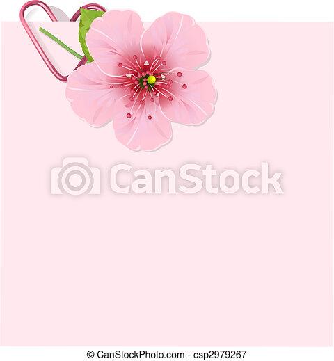 blomma, körsbär, brev - csp2979267