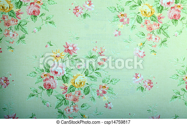 Blommig, årgång, tapet, grön, mönster. Årgång, tapet ...