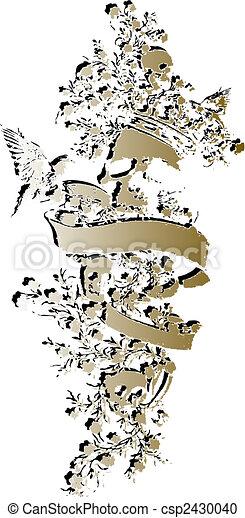 blommig, emblem, kranium, inbillning - csp2430040