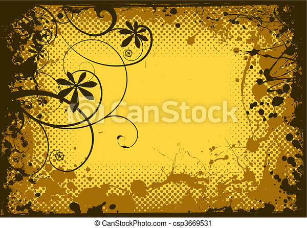 blommig, grunge, bläck - csp3669531