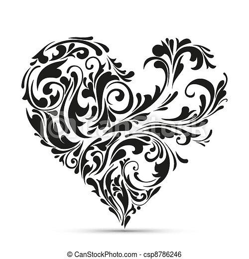 blommig, heart., abstrakt föreställning, kärlek - csp8786246