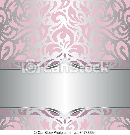 Blommig, rosa, tapet, silver, & Rosa, dekorativ, &, årgång ...
