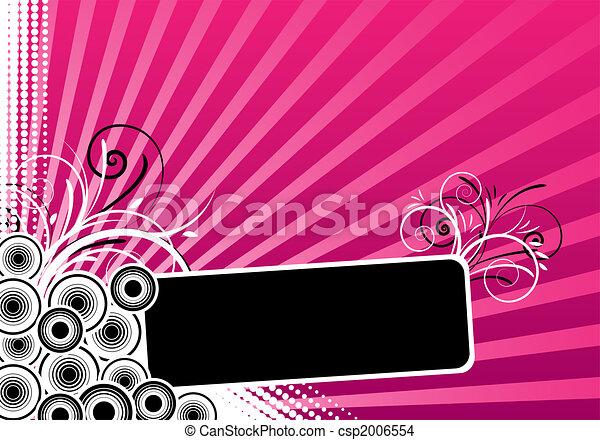 blommig, text, ram, design - csp2006554