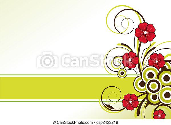 blommig, text, sammandrag formge, område - csp2423219
