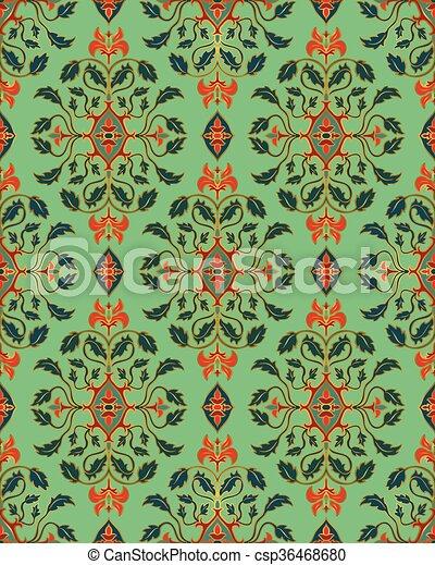 Blommig, turkos, wallpaper. Tapet, turkos, shawl., guld ...