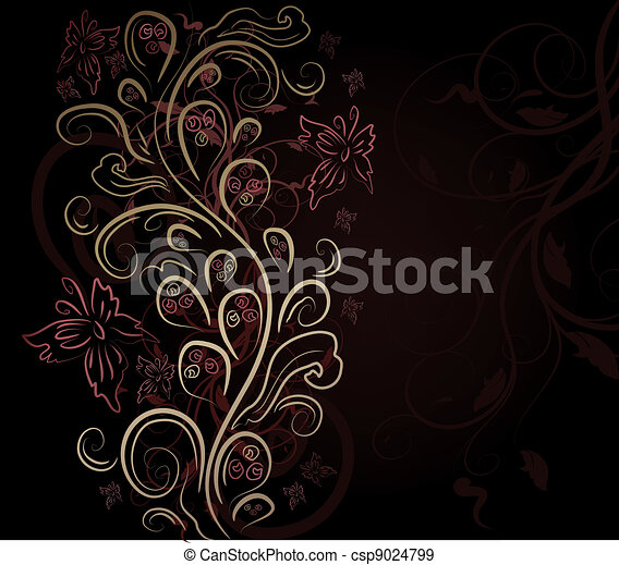 blommig, vektor, design, bakgrund - csp9024799