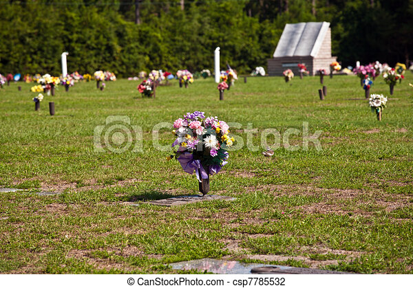 blomningen, kyrkogård, amerikan, gravar - csp7785532
