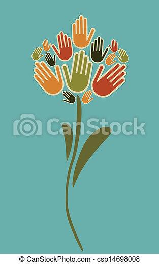 blomst, illustration, hænder - csp14698008