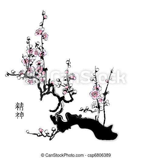 blomstre, sakura - csp6806389