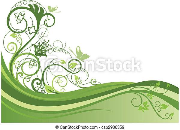 blomstret konstruktion, 1, grænse, grønne - csp2906359