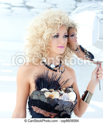 Blond 80s woman with ethnic cancan pearly dress - csp8609584