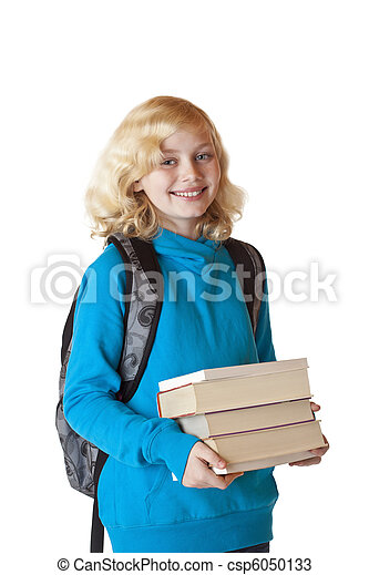 Blond and girl with backbag holds a pile of books and smiles - csp6050133