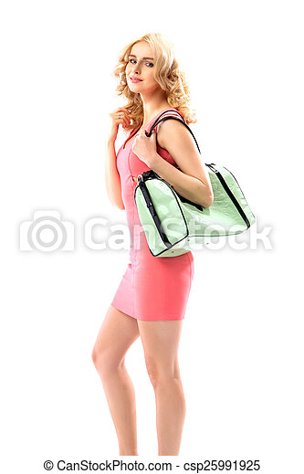 Blond beautie holding a trendy handbag - csp25991925