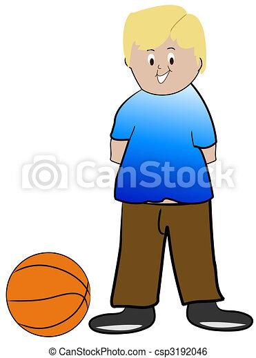 blond boy with basketball - illustration - csp3192046