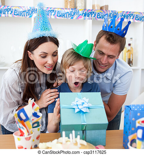 Blond child celebrating his birthday - csp3117625